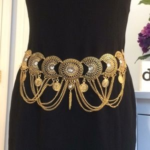 Accessories - Gold Boho Belt with Crystals Chain